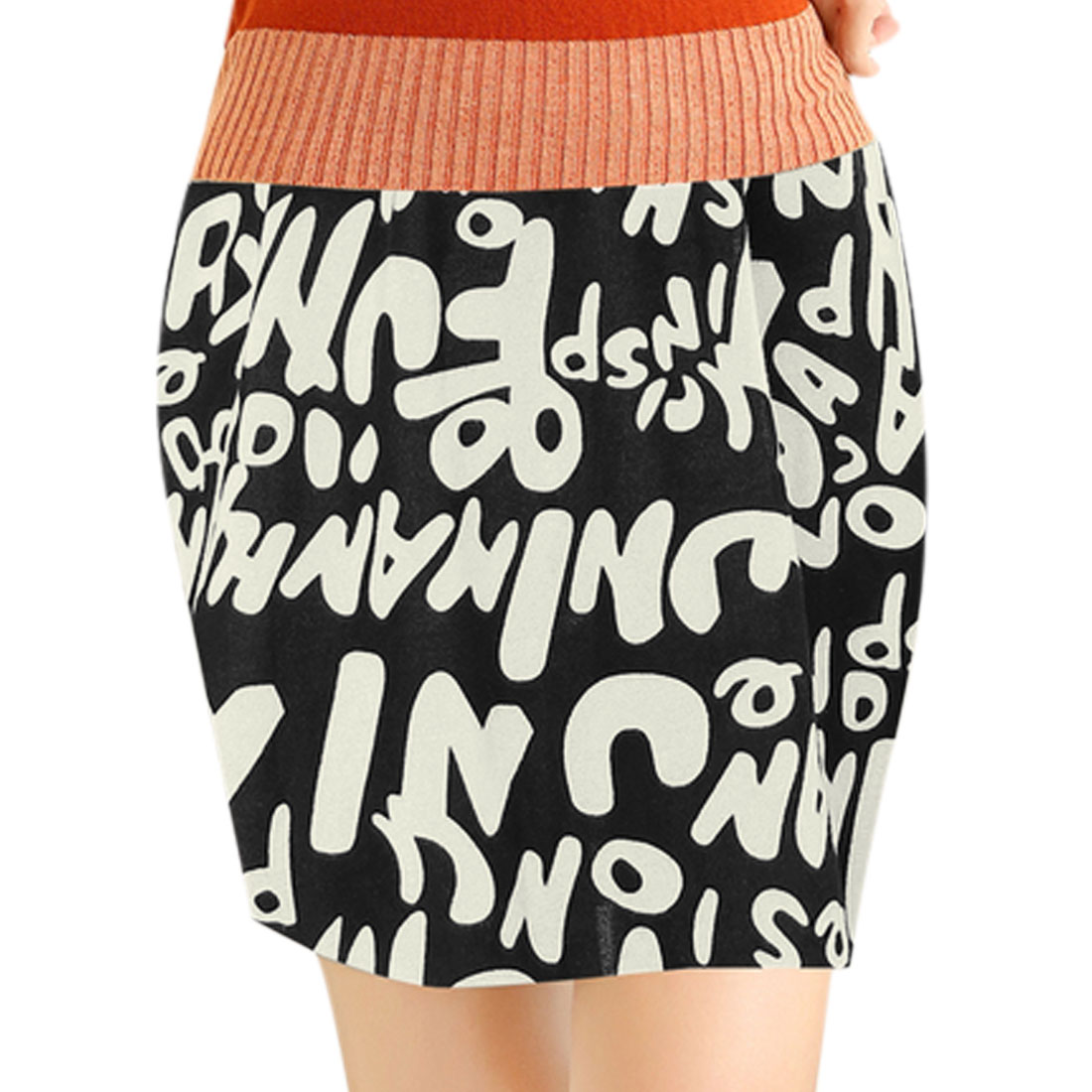 Allover Letters Print Stretch Waist Mini Skirt for Lady Black XS