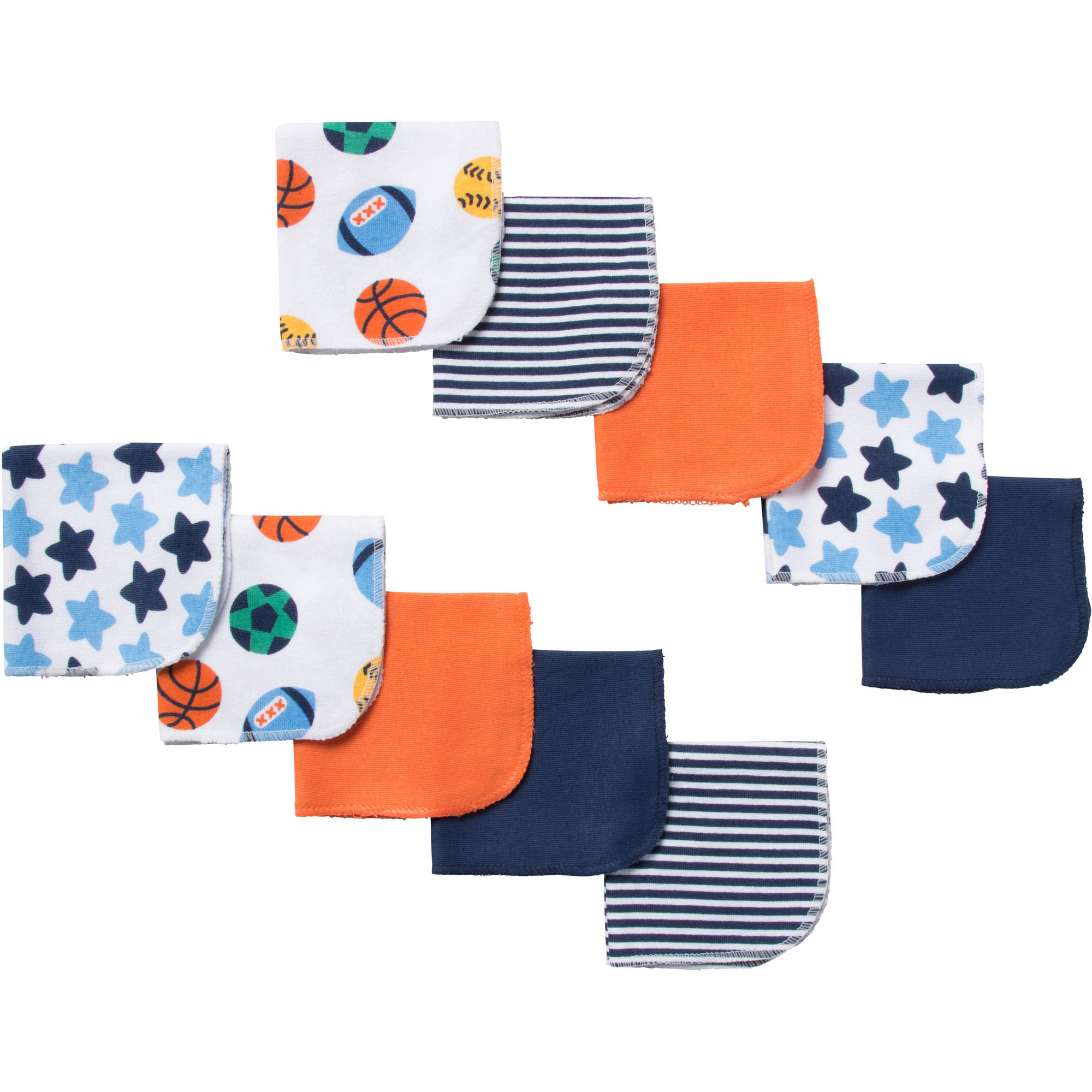 Gerber Newborn Baby Boy Terry Printed Sport Washcloths - 10 pack