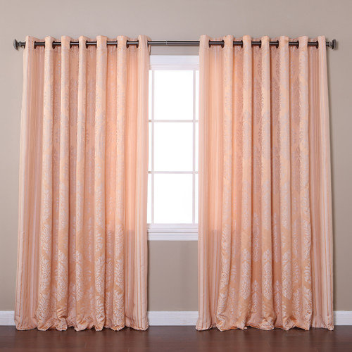 Best Home Fashion, Inc. Wide Width Damask Jacquard Grommet Curtain Panels (Set of 2)