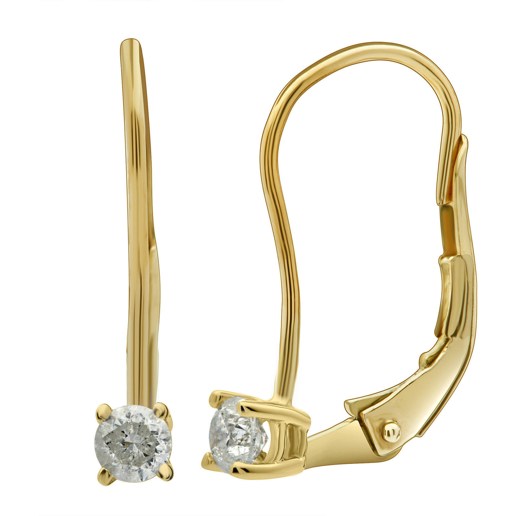 1/4 Carat T.W. Round Diamond 14kt Yellow Gold Leverback Stud Earrings with Gift Box, IGL Certified