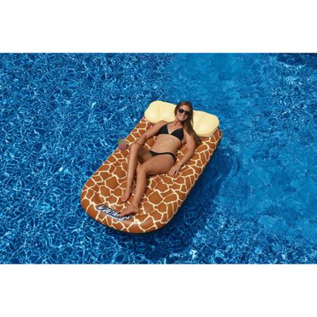 72 water sports wild things giraffe print inflatable swimming pool lounger raft