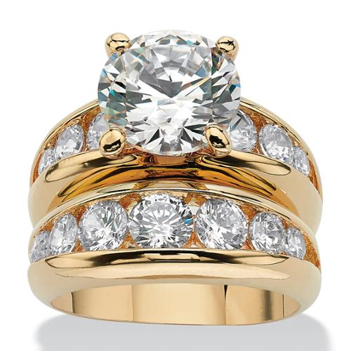 6.09 TCW Round Cubic Zirconia 14k Yellow Gold-Plated Bridal Engagement Ring Wedding Band Set - Size 7