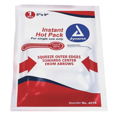 DYNAREX 4516 Instant Hot Packs, White, 5inL x 9inW, PK24