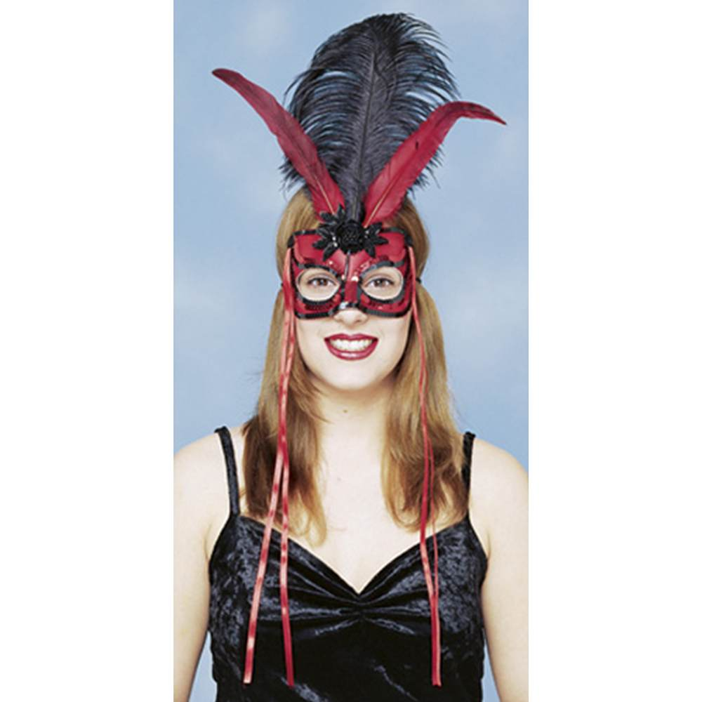 Red and Black Mardi Gras Feather Mask