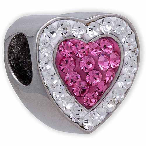 Connections from Hallmark Stainless Steel Clear and Pink Crystal Heart Charm