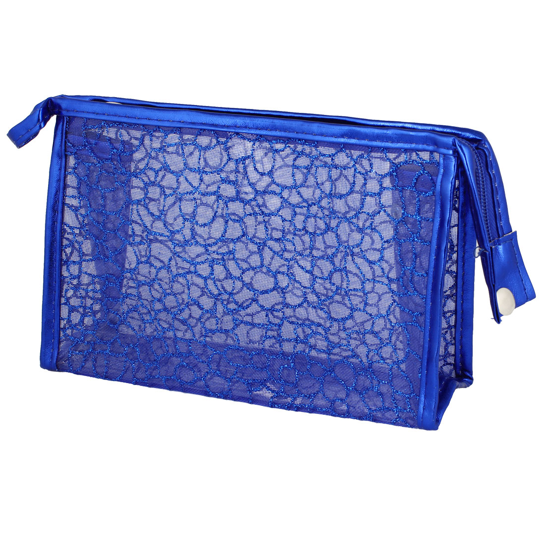 Dark Blue Faux Leather Frame Soft Plastic Lining Cosmetic Makeup Bag Pouch for Women