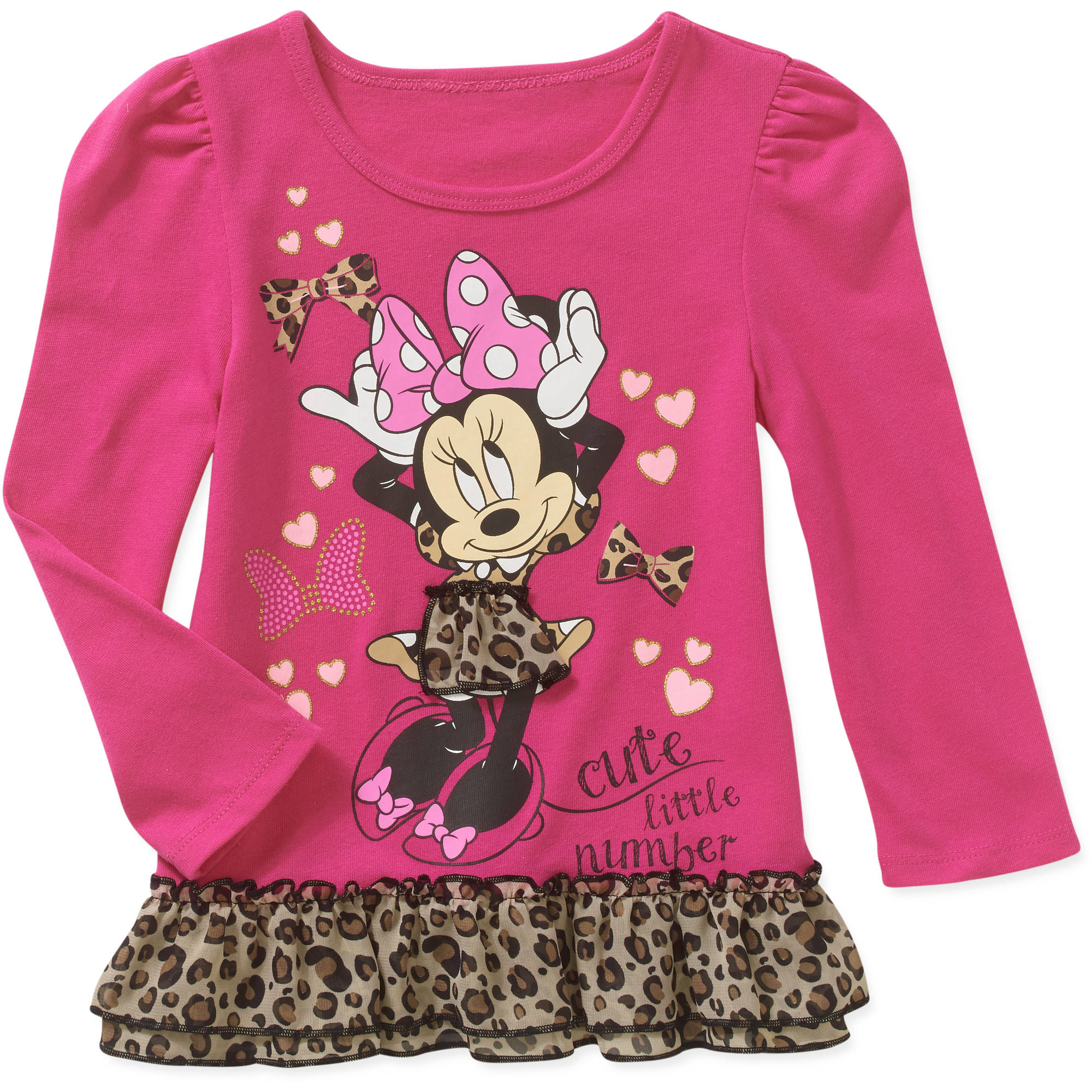 Minnie Mouse Baby Toddler Girl Long Sleeve Ruffled Fashion Tee