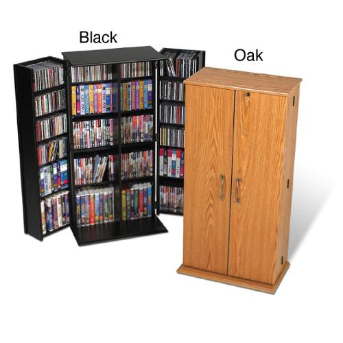 Tall Locking Media Storage Cabinet Oak/Black