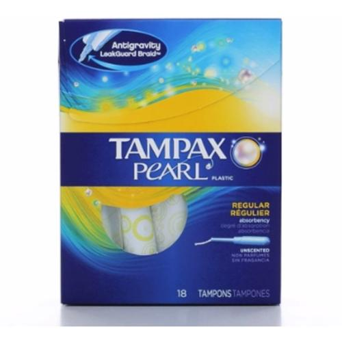 Tampax Plastic Unscented Tampons, Regular Absorbency 18 ea (Pack of 2)