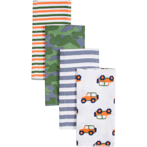 Gerber Boy Print Prefold Diaper Burp Cloths, 4 count
