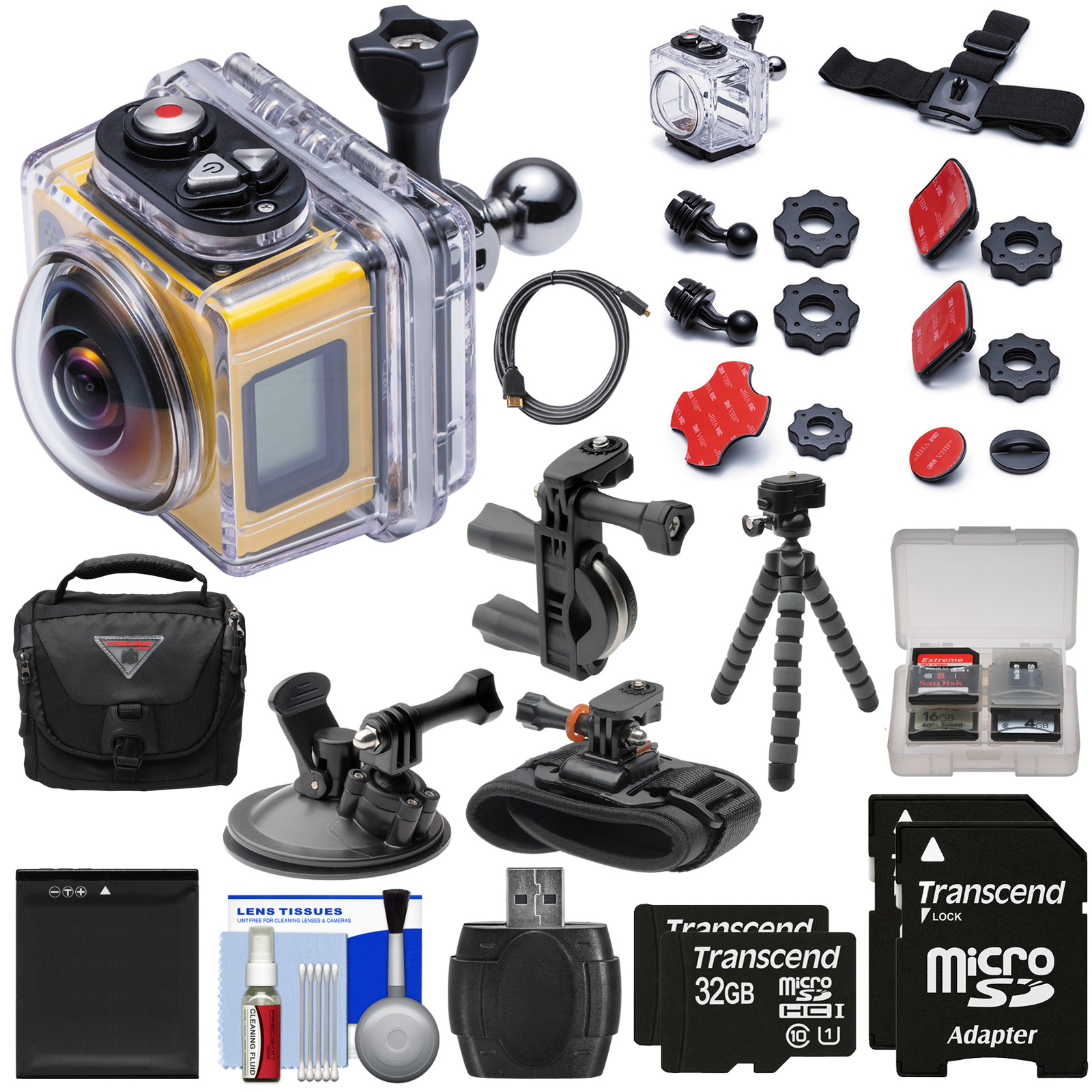 Kodak PixPro SP360 Wi-Fi HD Video Action Camera Camcorder Aqua Sport + Handlebar, Wrist & Suction Cup Mounts + 64GBs + Battery + Case + Tripod Kit