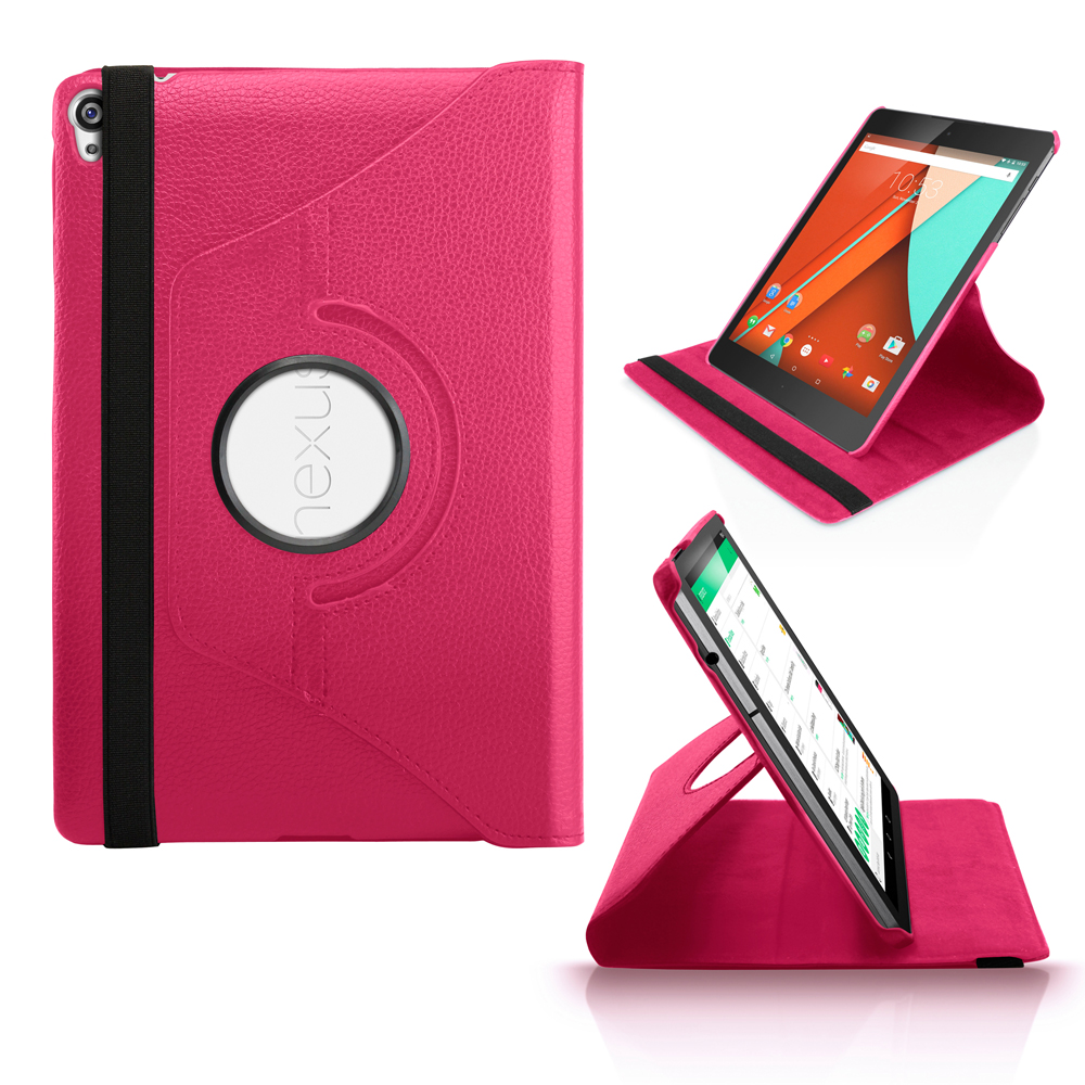 360 Rotating PU Leather Case Skin Cover Folio Stand for Google Nexus 9 Tablet - Hot Pink