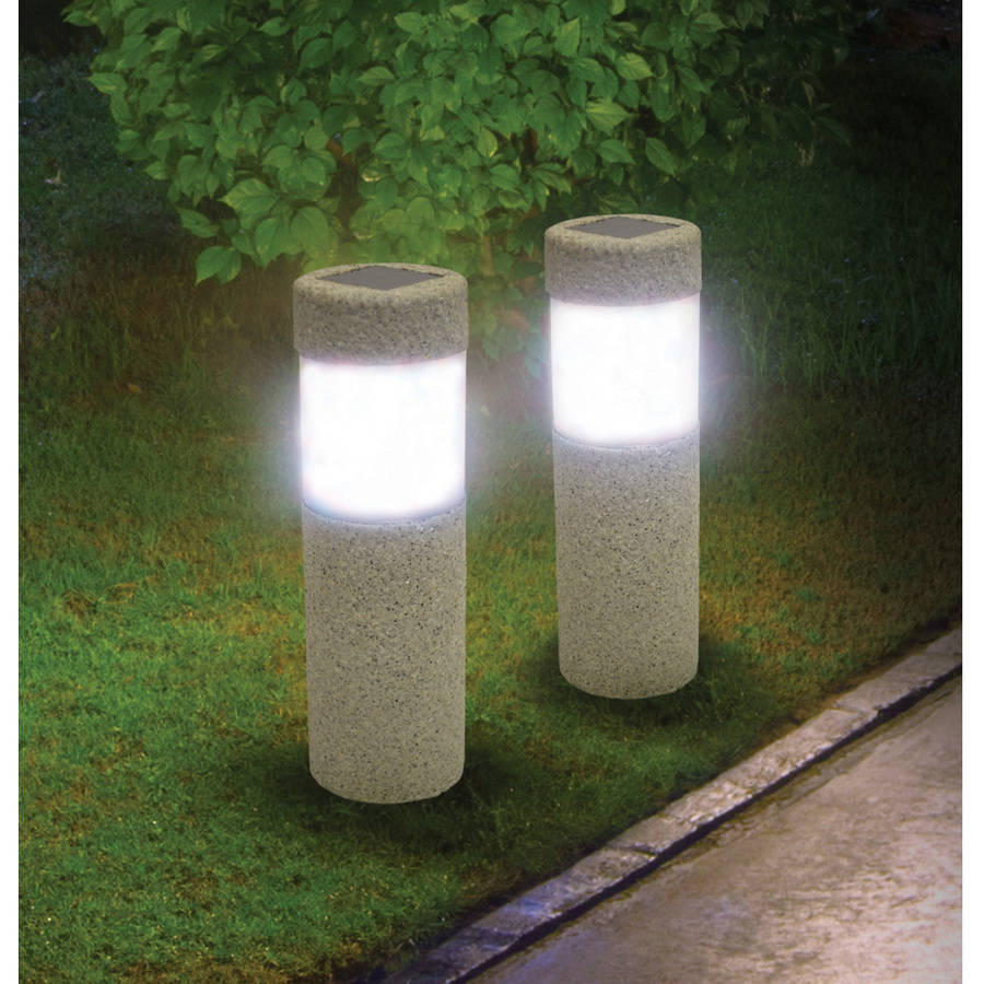 Ideaworks JB7381 Stone Pillar Lights Grey and Black, Set of 2