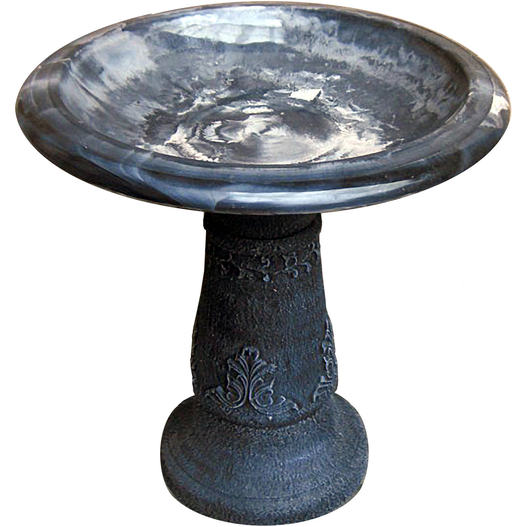 Florentine Marbelized Bird Bath, Blue/Black