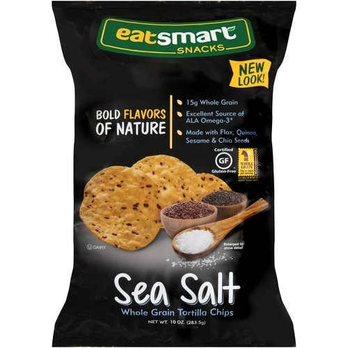 Eatsmart Snacks Sea Salt Whole Grain Tortilla Chips, 10 oz