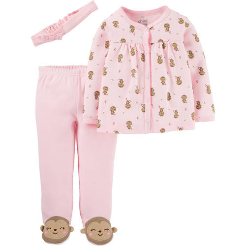 Child Of Mine by Carter's Newborn Baby Girl Footed Pants, Cardigan, and Cap 3-Piece Outfit Set