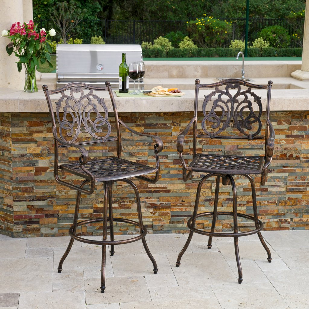 Denise Austin Home Ridley Cast Aluminum Outdoor Bar Stool (Set of 2)