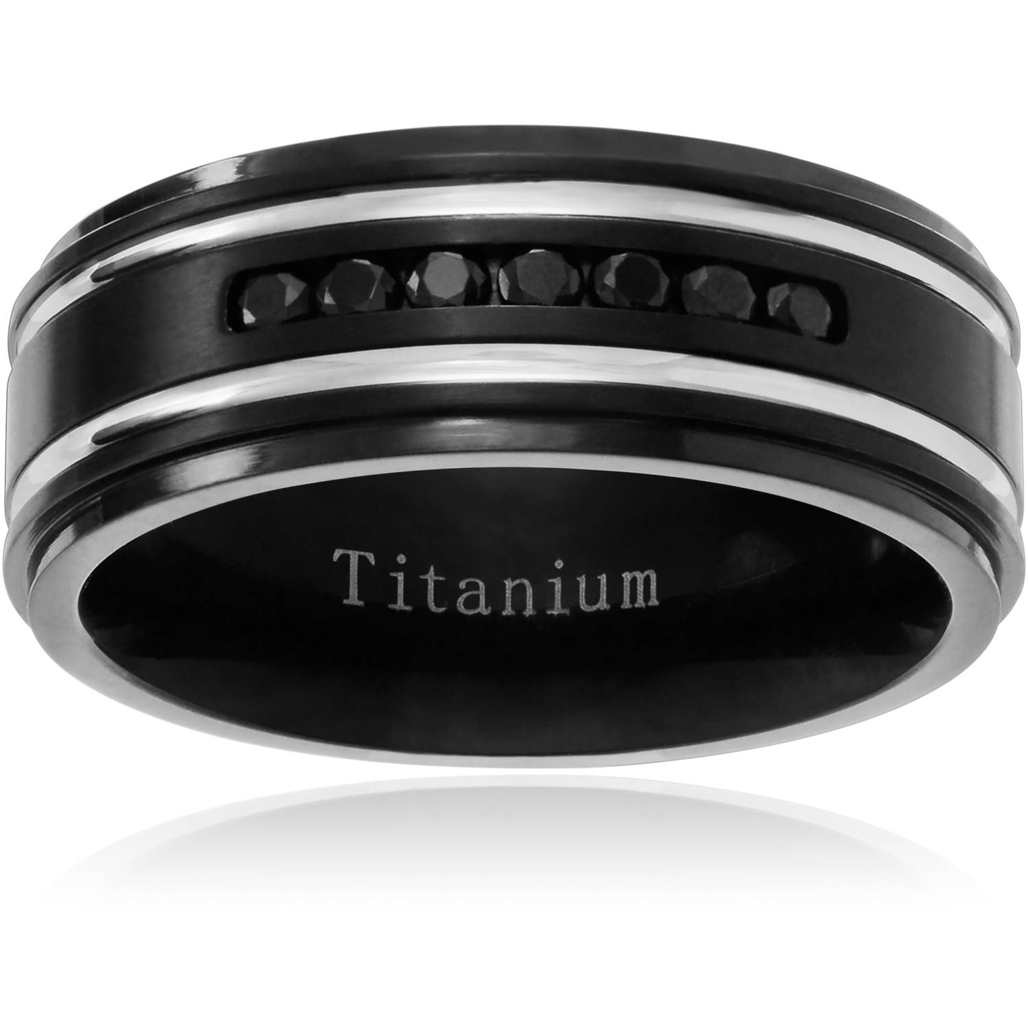 Daxx Men's Titanium Cubic Zirconia Double Grooved Wedding Band