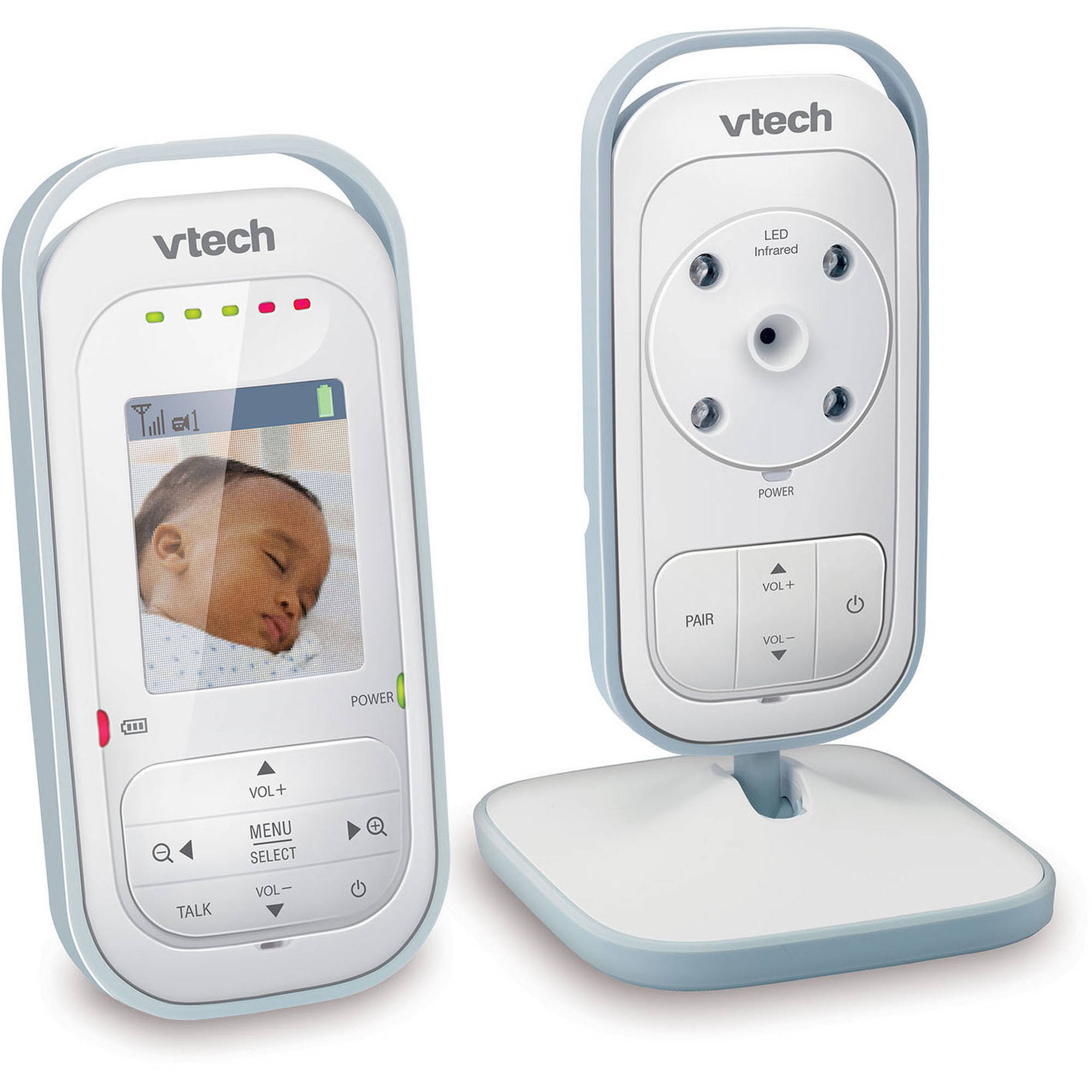 VTech VM311 Safe & Sound Expandable Digital Video Baby Monitor with Full-Color and Automatic Night Vision, 1 Parent Unit, White/Silver