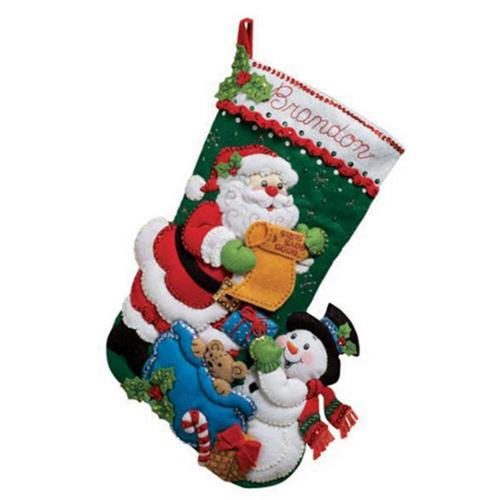 Bucilla Santa   His List Stocking Felt   Sequin Kit