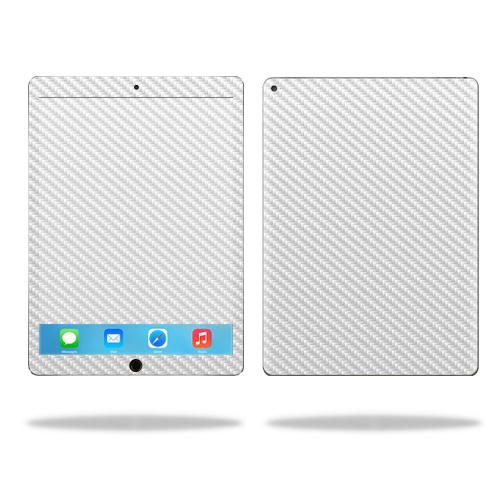 "MightySkins Protective Vinyl Skin Decal for Apple iPad Pro 12.9"" case wrap cover sticker skins White Carbon Fiber"