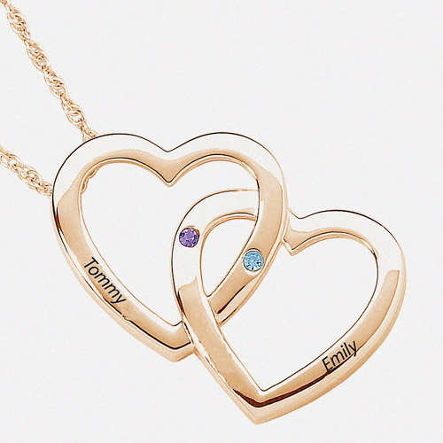 Personalized Double Heart Necklace in Gold Over Silver