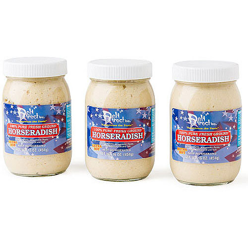 Deli Direct Extra Hot 100% Pure Fresh Ground Horseradish, 16 oz, 3 count