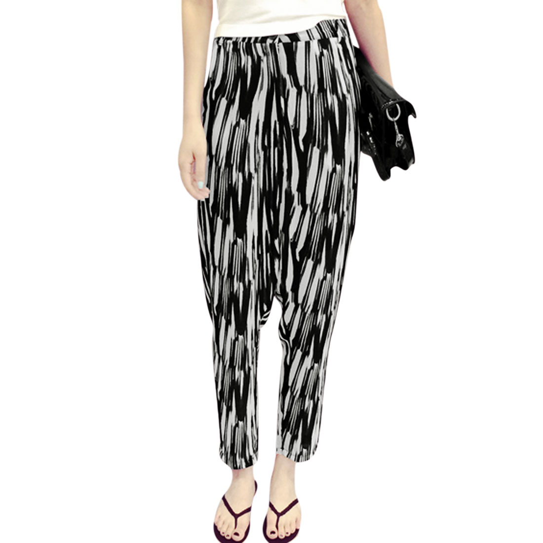 Allegra K Women's Belt Loop Zip Up Novelty Prints Harem Style Pants Black (Size S / 4)