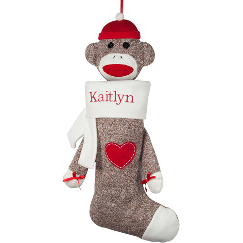 Personalized Sock Monkey Christmas Stocking, White Cuff