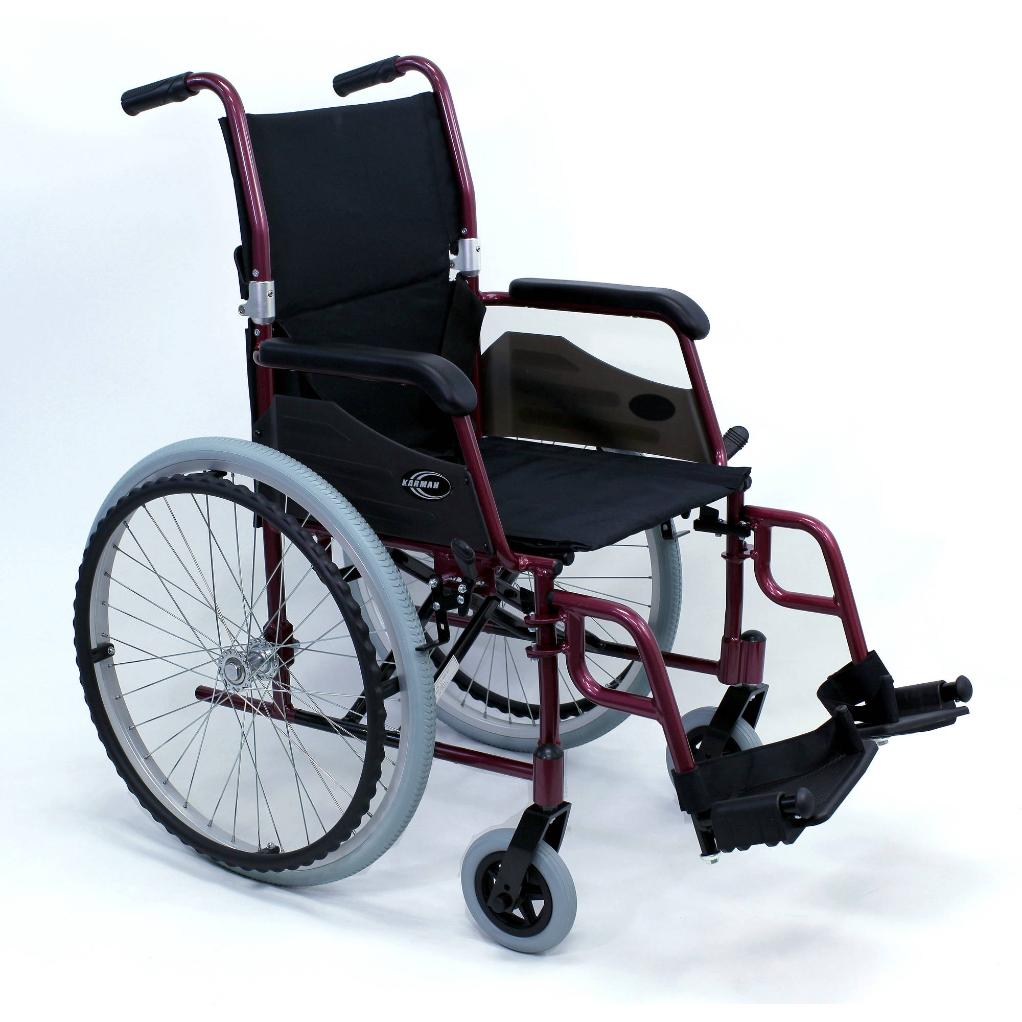"Karman LT-980 24 pounds Lightweight Wheelchair, 18"" seat, Burgundy"