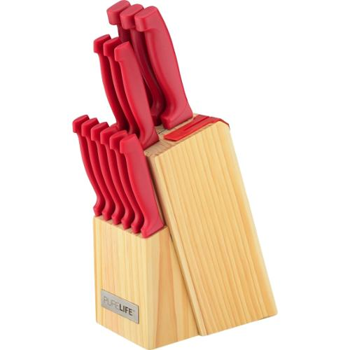 Ragalta PLKS-800R 13 Piece Cutlery Set in Pine Wood Block w/ Built-in Sharpener