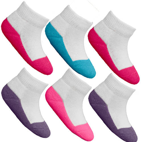 Fruit of the Loom Baby Girls Assorted Low Cut Socks - 6 Pairs