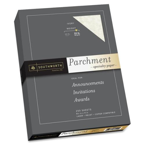 "Southworth Premium Parchment Paper - Letter - 8.50"" x 11"" - 32 lb Basis Weight - Parchment - 250 / Box - Ivory"