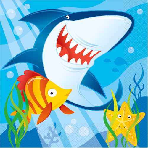 Ocean Shark Party Napkins, 16ct