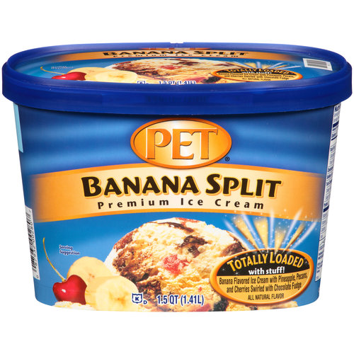 PET Banana Split Premium Ice Cream, 1.5 qt