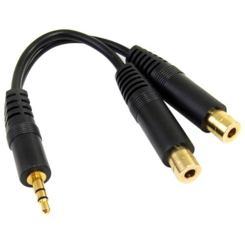 StarTech 6in Stereo Splitter Cable - 3.5mm Male to 2x 3.5mm Female - Mini-phone Female - Mini-phone Male - 6