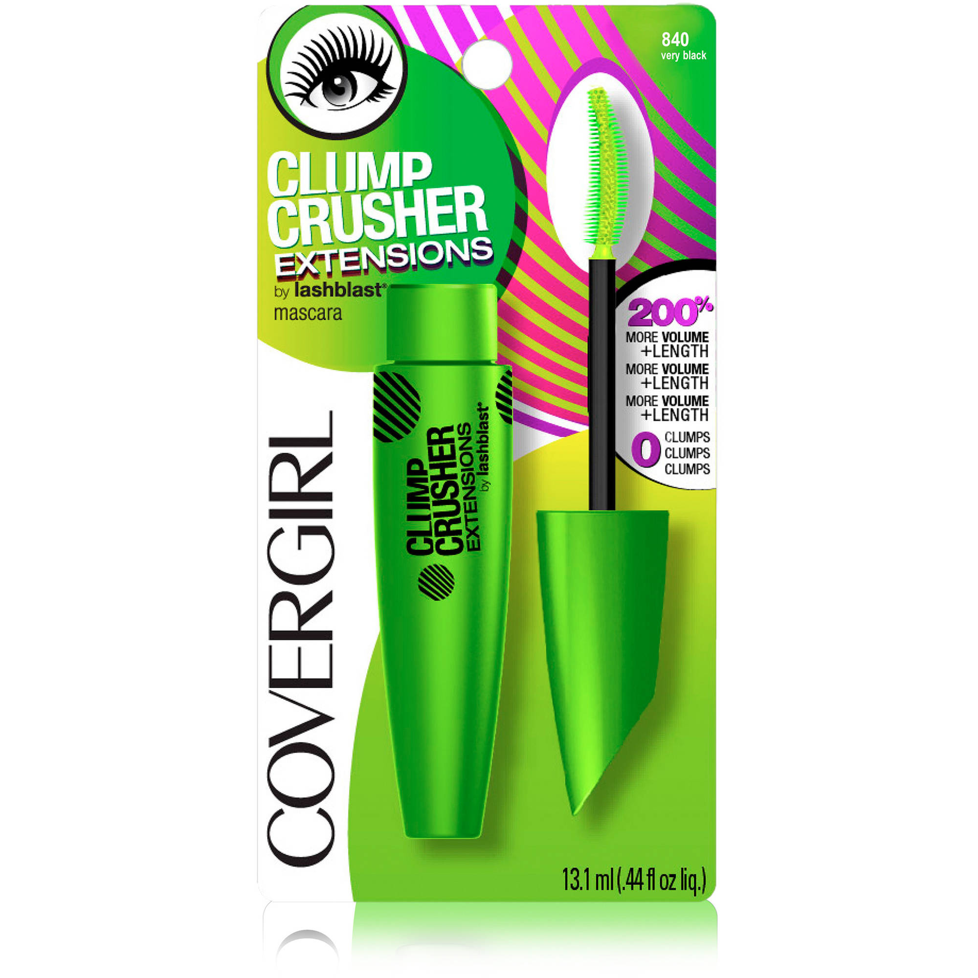 COVERGIRL Clump Crusher Extensions by LashBlast Mascara, 840 Very Black, .44 fl oz