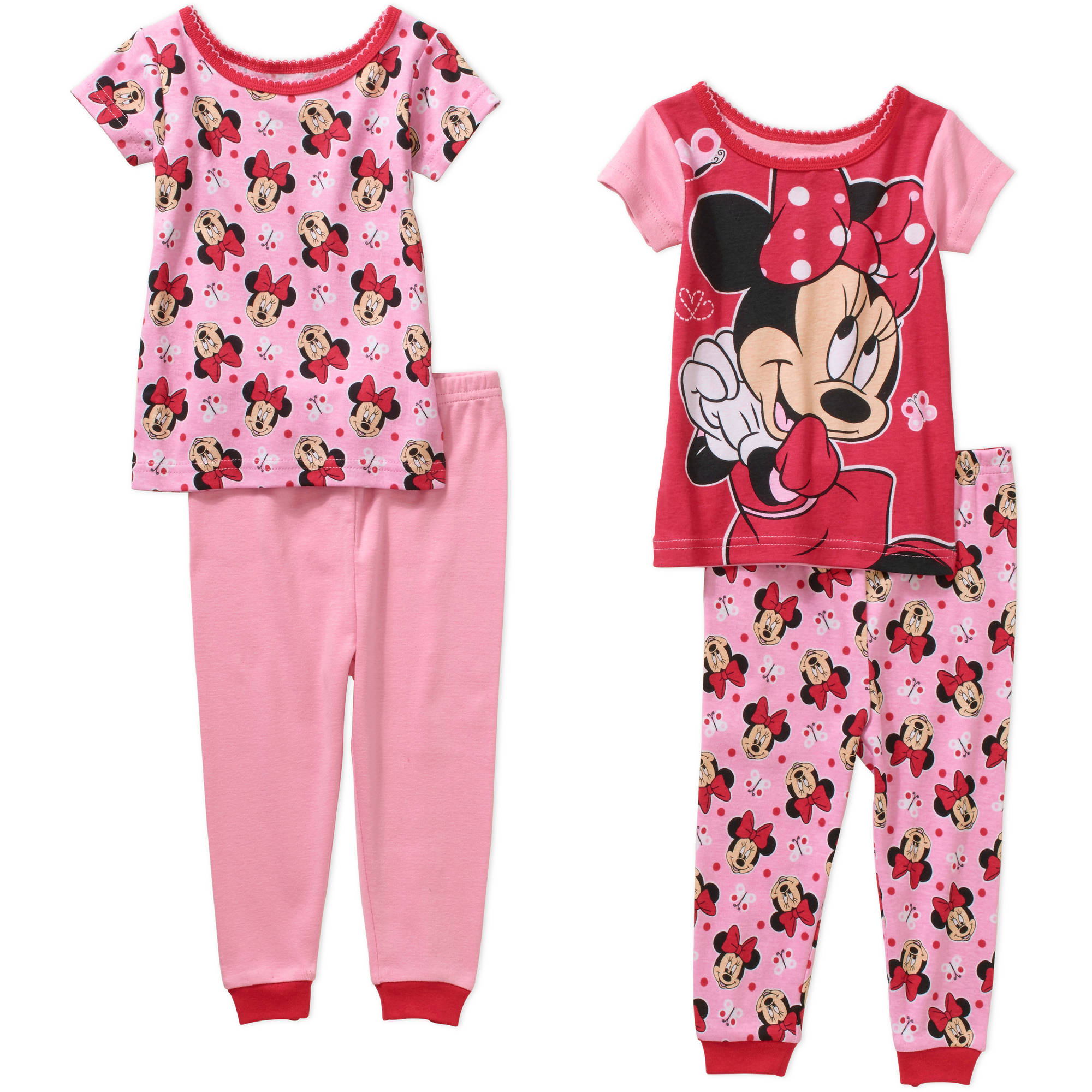 Minnie Mouse Baby Infant Girl Cotton Tight Fit Short Sleeve Pajamas, 4-Pieces