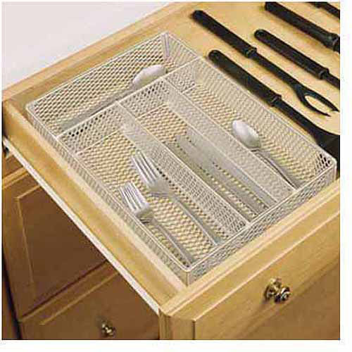 Rubbermaid Mesh Cutlery Tray, Titanium Colored