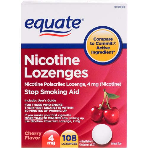 Equate Stop Smoking Aid Nicotine Lozenge 4mg, Cherry, 108 Pieces