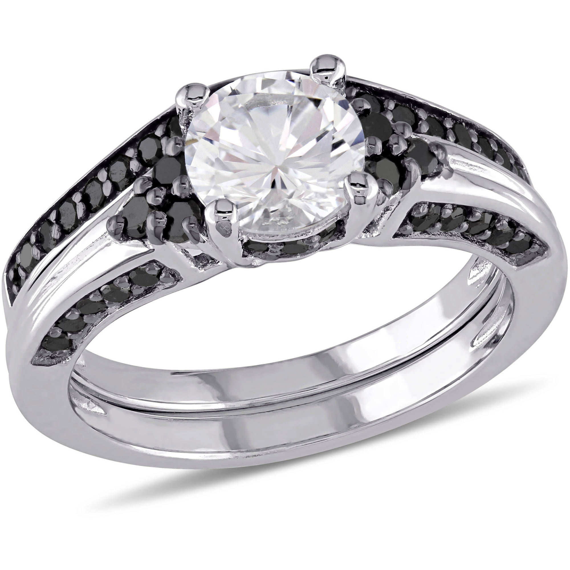 1-3/8 Carat T.G.W. Created White Sapphire and 3/5 Carat T.W. Black Diamond Sterling Silver Bridal Set