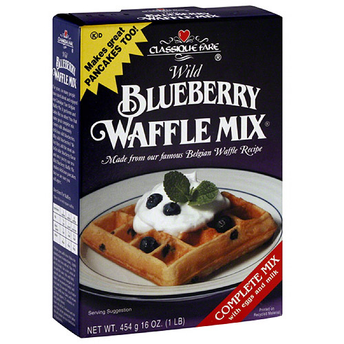Classique Fare Wild Blueberry Waffle Mix, 16 oz, (Pack of 6)