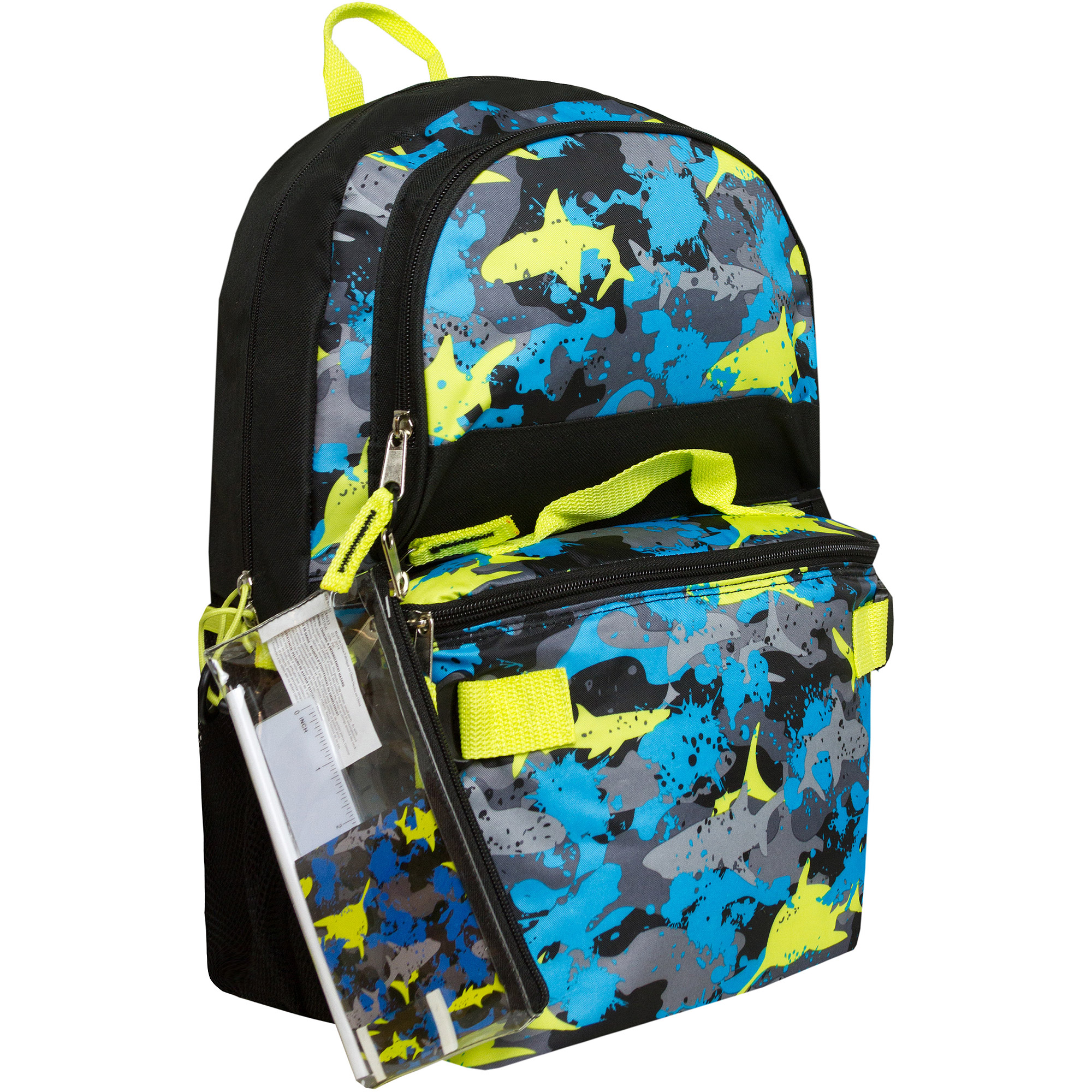 "Triple Pocket 17"" Shark Camo Backpack with Pencil Case and Lunch Bag"