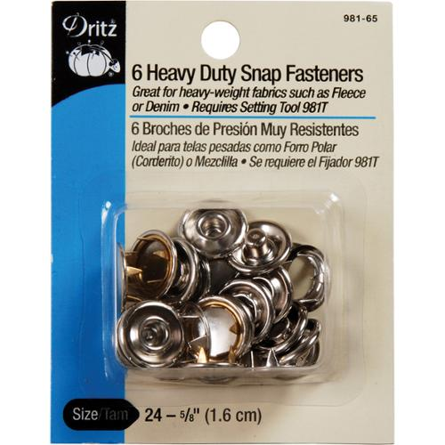 "Heavy Duty Snap Fasteners 5/8"" 6/Pkg-Nickel"