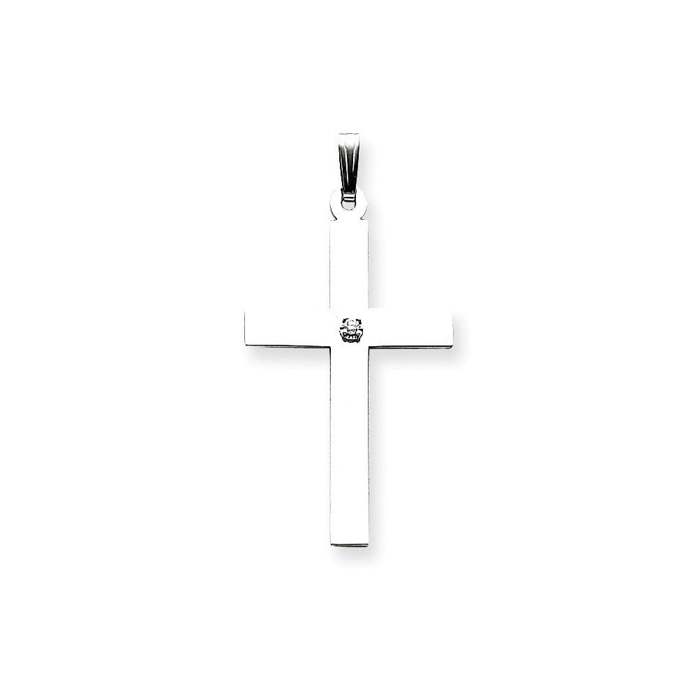14k White Gold .03ct. Diamond Latin Cross Pendant. Carat Wt- 0.03ct