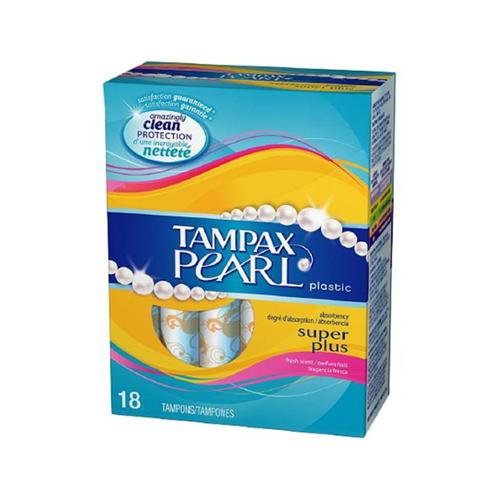 Tampax Pearl Tampons With Plastic Applicators, Super Plus Absorbency 18 ea (Pack of 3)