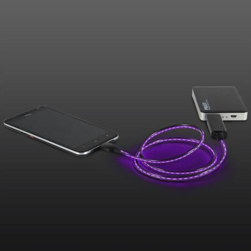 Electroluminscent Micro USB Charging & Data Sync Light Up LED Visual Cable for Android Smartphone Tablet - Purple
