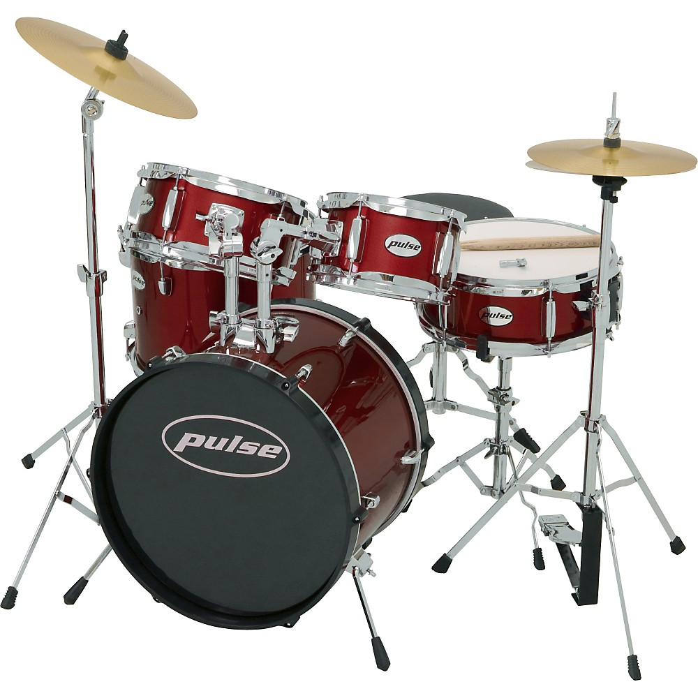Pulse 5-Piece Junior Drum Set Wine Red