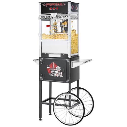 Great Northern TopStar Black Commercial Quality Popcorn Machine with Cart, 12oz
