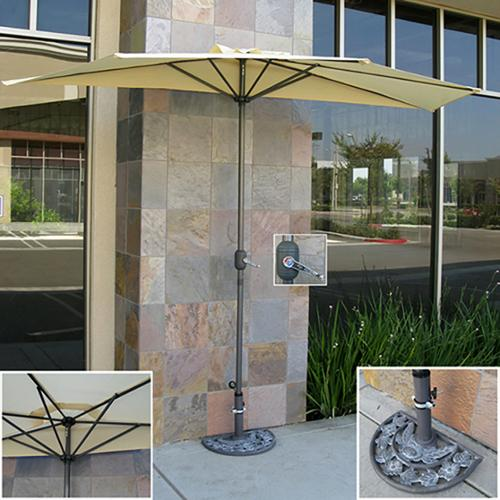 Patio Umbrella Half With Umbrella Stand 9' Tan Market Aluminum Umbrella Commercial